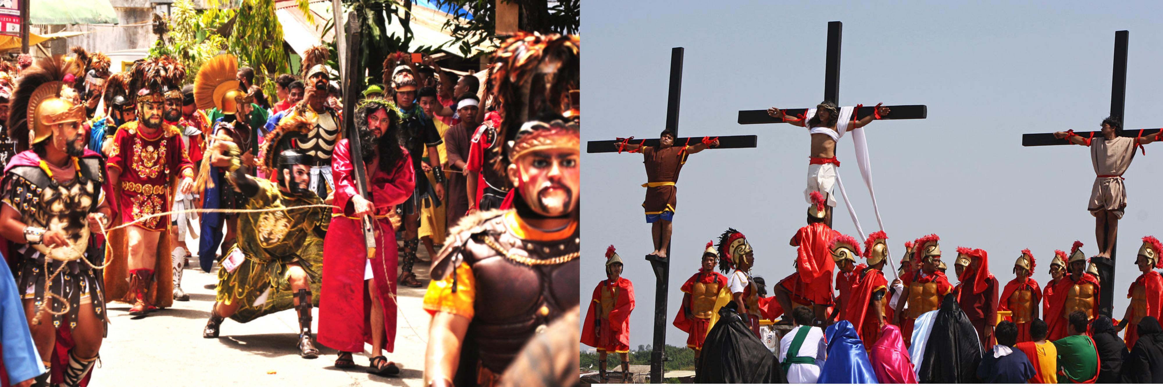 Three of the most popular Holy Week Celebration in the Philippines. Images via Wikipedia and lakwatserongsulit.wordpress.com